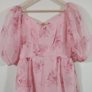 Vintage 70s pink princess fairy puffy sleeve maxi